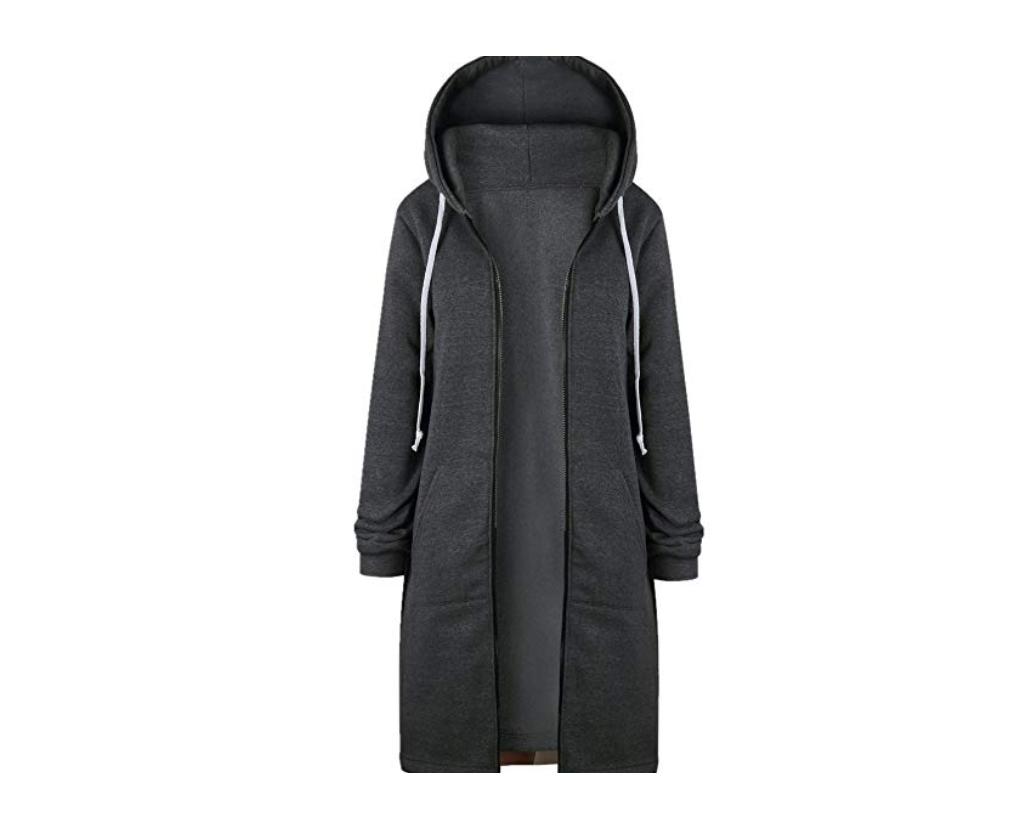 Misslook Women's Zip Up Hooded Long Sweatshirt Jacket Dress Charcoal Size S NE