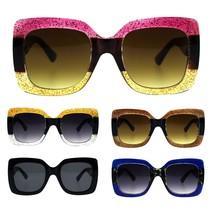 Stripe Glitter Pop Color Retro Thick Plastic Rectangular Mod Sunglasses - $17.34 CAD