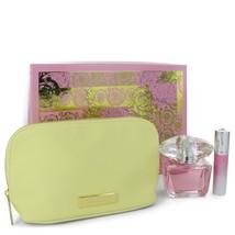 Versace Bright Crystal Perfume 3.0 Oz Eau De Toilette Spray 3 Pcs Set image 3