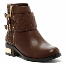 Vince Camuto WINTA Brown Leather Boots Flat Riding Moto Quilted Booties 6.5 - $139.00