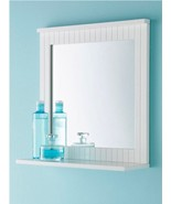 Wooden Bathroom Mirror Wall Mounted White Home Mirror With Organiser She... - $36.58