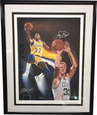 "Larry Bird & Magic Johnson Dual Signed ""NBA Kings"" 23x31 Giclee by S Parson- Pre"