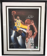 "Larry Bird & Magic Johnson Dual Signed ""NBA Kings"" 23x31 Giclee by S Par... - £403.48 GBP"
