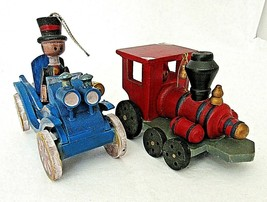 """Vintage Wooden Christmas Ornaments Train Car Red Blue 3"""" Lot of 2 Wood - $18.76"""