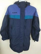 Columbia Blue Nylon Water Resistant Hooded Light Windbreaker Jacket Size L - $24.39