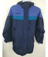 Columbia Blue Nylon Water Resistant Hooded Light Windbreaker Jacket Size L - $24.39