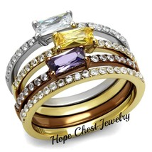 HCJ 3 TONE SILVER, GOLD,  BROWN RADIANT CUT MULTI-COLOR CZ 4 RING SET SI... - $31.04