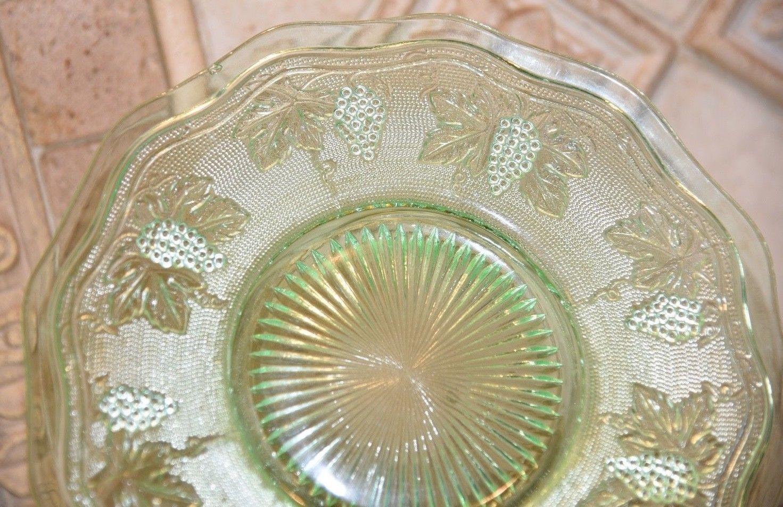 Vintage Light Green Depression Vaseline Glass  Luncheon Dessert Plate Grape Vine