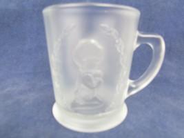 Vintage Fenton Glass Embossed Prayer Children Cup Mug #9648 Frosted 1980s  - $34.65