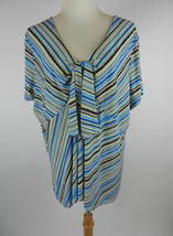 Apostrophe Woman Top Sz 24-26W Blue Beige SS Striped Ties at V-Neck Jers... - $16.82