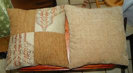 Pair of Brown Tan Patchwork Print Throw Pillows  17 x 17 - $49.95