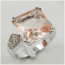 Champane Morganite Pale Nude Blush Prong Set Crystal Sterling Silver Plated Ring