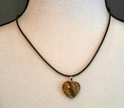 Necklace, Picture Jasper Heart Shaped, Natural Healing Stone Women or Men - $12.86
