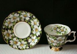 DOGWOOD Royal Albert Footed TEA CUP & SAUCER Provincial Flower Bone Chin... - $28.85
