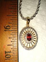 VTG 14K on STERLING SILVER ROMANTIC BALLERINA WEB DIAMOND ACCENT GARNET ... - $247.99