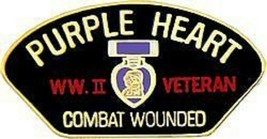 PURPLE HEART WORLD WAR II VETERAN  COMBAT WOUNDED PIN - $15.33