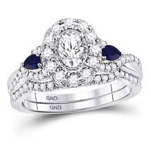 14kt White Gold Oval Diamond Bridal Wedding Engagement Ring Band Set 1-1/20 Ctw - $1,899.00