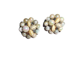 Japan Silver Beige Colored Faux Shell Cluster Bead Silver Tone Earrings - $7.92