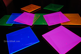 Blacklight Reactive 8 Inch Square Twist Plastic Party Plates- 10 ct. - $13.95