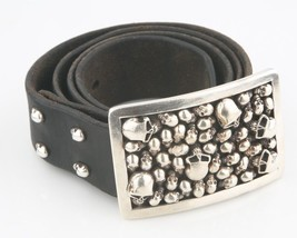 Stanley Guess Sterling Silver Skull Motif Belt Buckle & Leather belt PRO... - $5,359.56