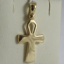 SOLID 18K YELLOW GOLD CROSS, CROSS OF LIFE, ANKH, SHINY, 1.02 INCH MADE IN ITALY image 1