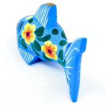Handmade Alebrijes Oaxacan Painted Wood Folk Art Flower Shark Figurine image 2