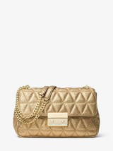 Michael Kors Sloan Gold Metallic Quilted Leather Push Lock Fastening Sho... - $539.99