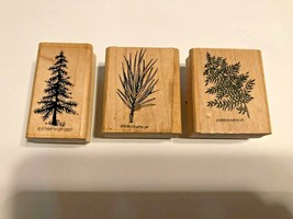 Stampin' Up Set of 3 Craft Stampers Wood & Rubber Mounted Pine Tree - Fe... - $9.74