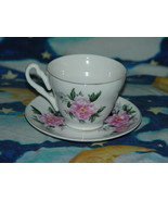 Porcelain Cup And Saucer Pink Carnation Flower T1600 - $12.00