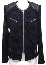 IRO CEYLONA Jacket Coat Leather Knit Black Midnight Blue Long Sleeve Zip... - $213.75