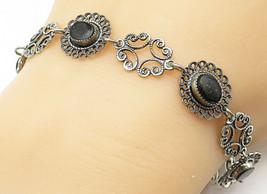 BEAU 925 Silver - Vintage Black Onyx Floral Swirl Linked Chain Bracelet ... - $32.82