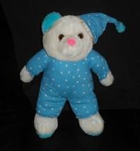 Vintage 1994 Ace Novelty White Teddy Bear Blue Pajamas Stuffed Animal Plush Toy - $55.17
