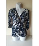 AB Studio Womens Shirt Small V Neck 3/4 Sleeves Animal Print - $12.86
