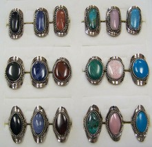 4 PC ASST ALPACA SILVER REAL STONE ASST RINGS women hand crafted ring je... - $12.30