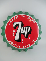 "7-Up Tin Bottle Cap Sign 11"" Green Retro Fresh Up with 7-Up - $12.38"