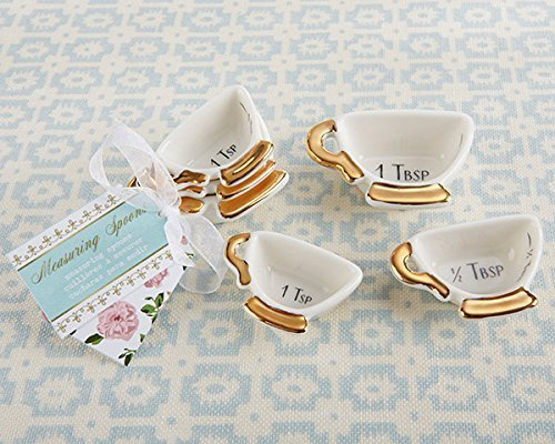 60 Tea Time Whimsy Ceramic Teacup Measuring Spoons