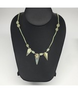 "14g,2mm-31mm, Small Green Nephrite Jade Arrowhead Beaded Necklace,19"",NP... - $4.75"