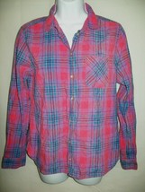 American Eagle Outfitters Womens Top Size M Boyfriend Shirt Pink Plaid S... - $19.57