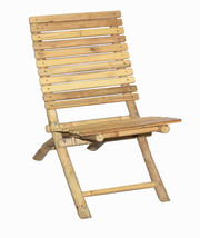 Bamboo Portable Beach Chair or Patio Deck Slat Camping Chair   - $63.65