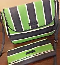 VERA BRADLEY Lucky Stripe Crossbody Purse & Wallet Clutch Blue green SEA... - $1.279,43 MXN