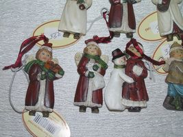 Lot of 7 Small Red & White Resin Girl Boy w Snowman Playing Musical Instrument image 4