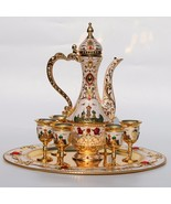 8pc. New Arrival Golden and White Coffee / Wine / Tea Set Castle Pattern !  - $249.99