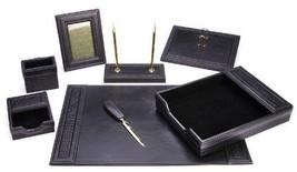 Black PU Leather Desk Set 8 Piece Home Office Supply Professional Busine... - $189.98