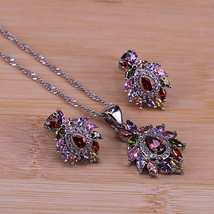 Artistic Vintage Cubic Zircon Jewelry Colorful CZ Crystal 925 Silver Pen... - $10.90