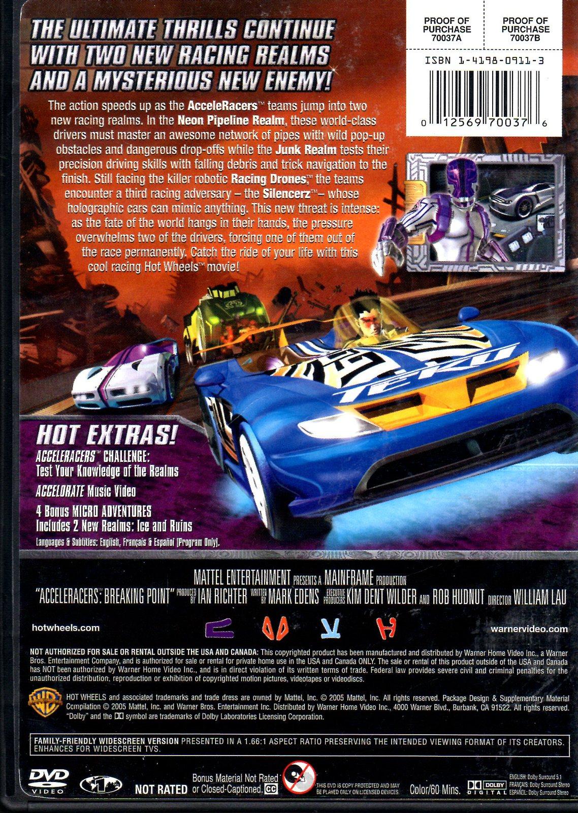 DVD - Hot Wheels AcceleRacers Breaking Point DVD Movie 3