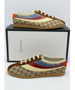NIB Gucci Falacer GG Sneaker With Web New Brown canvas leather suede New... - $545.00