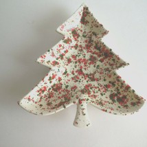 "Christmas Tree Ceramic Candy Nut Dish Splatter Paint 9"" X 9"" X 1"" - $8.67"