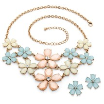 PalmBeach Jewelry Pastel Lucite and Crystal Flower Jewelry Set in Gold Tone - $23.99