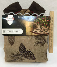 """Christmas Tree Skirt Brown Burlap Country Pine Cone 56"""" Fabric Rustic Co... - $19.79"""
