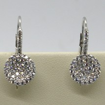 18K WHITE GOLD LEVERBACK EARRINGS, CIRCLE ZIRCONIA DISC LENGTH 20 MM, ITALY MADE image 1